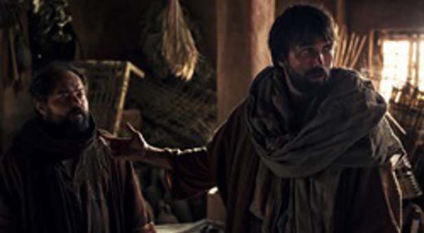 Barnabas (l) and Saul appeal to Peter in